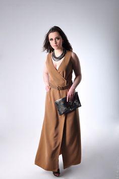 Robe portefeuille en soie & ceinture en cuir