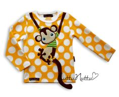 monkey on shirt - so cute Beautiful Outfits, Beautiful Clothes, Diy Projects To Try, Hoodies, Sweatshirts, Kids Outfits, Shirt Designs, Costumes, Inspiration