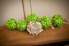 Whimsical DIY Wedding: The bride and bridesmaids' DIY bouquets.
