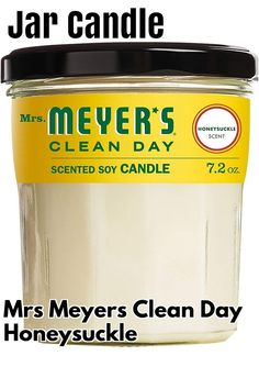 (This is an affiliate pin) Mrs. Meyer's Clean Day Scented Soy Aromatherapy Candle, 35 Hour Burn Time, Made with Soy Wax and Essential Oils, Honeysuckle, 7.2 oz Cleaning Day, Aromatherapy Candles, Candle Jars, Burns, Essential Oils, Wax, Laundry, Essential Oil Uses, Essential Oil Blends