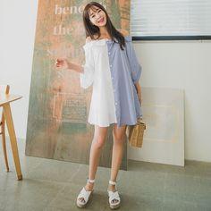 #envylook Two-Tone Cold Shoulder Dress #koreanfashion #koreanstyle #kfashion #kstyle #stylish #fashionista #fashioninspo #fashioninspiration #inspirations #ootd #streetfashion #streetstyle #fashion #trend #style
