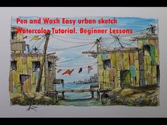 Pen and Wash Easy urban sketch Watercolor Tutorial. Beginner Lessons - YouTube