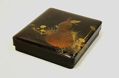Writing Box with Design of Gourd and Butterfly  Shibata Zeshin  (Japanese, 1807–1891)  Period: Meiji period (1868–1912) Date: 1886 Culture: Japan Medium: Powdered gold and silver (maki-e) on black lacquer