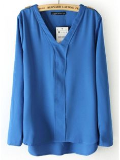 blue long sleeve V-neck chiffon shirt