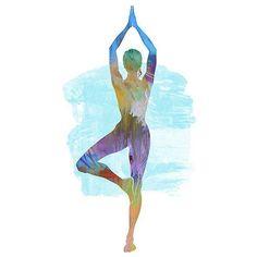 Yoga Art TREE POSE 2  Large Yoga Wall Art Yoga Pose by YogaColors