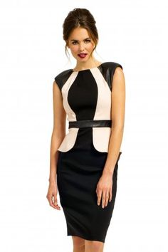 Paper Dolls Black & Cream PU Panel Detail Peplum Dress