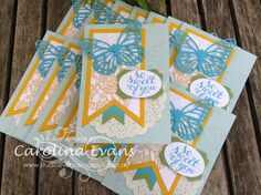 Regarding Dahlias, Butterfly Cards - Feb Trading Cards, Stampin' Up! a creation by Carolina Evans 2015 #stampinup