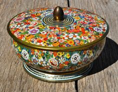 English Vintage Round Tin Box With Bright by OuLaLaVintageFinds, $15.00