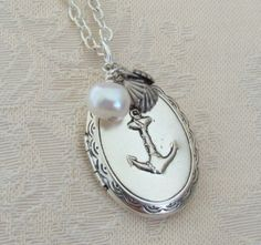 Silver Anchor Locket Necklace Wedding Bride by BackstreetCreations, $31.00   Silver Anchor Locket Necklace Wedding Bride Navy Ocean Sea Nautical White Pearl Girl, Sister Daughter Sailing Graduation  Wedding party, Bride, Mother of the Bride or Mother of the Groom, Mother's day present, Graduation gift, Birthday, Anniversary, Hanukkah, Christmas