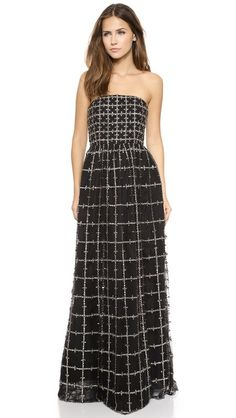 alice + olivia Milly Embellished Strapless Ball Gown - rock it out with a leather jacket.