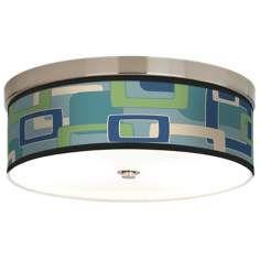 Retro Rectangles Giclee Energy Efficient Ceiling Light, bathroom light