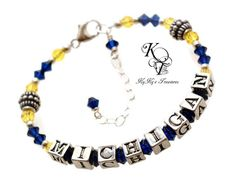 Michigan Bracelet Michigan Jewelry Michigan by KyKysTreasuresLLC