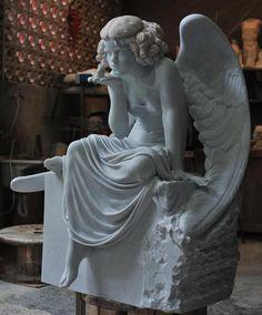 Cicero D Avila marble sculpture Redhead angel 2