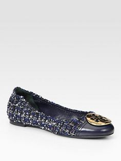 Tory Burch - Serena Tweed and Leather Logo Ballet Flats - Saks.com