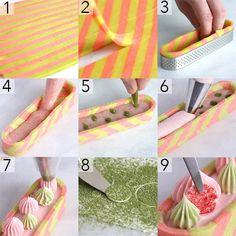 Step by step process of making Strawberry Tart using Matcha. Made with Swiss Buttercream, White chocolate ganache and candy melts Creative Desserts, Gourmet Desserts, Fancy Desserts, Creative Cakes, Plated Desserts, Dessert Recipes, Pastry Recipes, Tart Recipes, Sweet Recipes