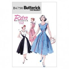 Butterick Ladies Easy Sewing Pattern 4790 Walkaway Vintage Style Wrap Dress | Sewing | Patterns | Minerva Crafts *Affiliate Link* #sewing #sewingpatterns #butterickpatterns #sewingdress