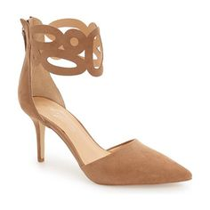 by zen kanona dorsay cuffed pump by Daya. A cutout cuff wraps playfully around the ankle of this gorgeous pointy-toe pump cut in a classic d'Orsay profile.