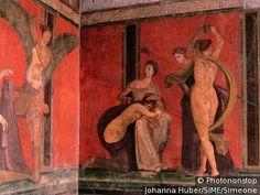 Peinture,Pompeï, scène de mariage? Cela représente des scènes de la vie quotidienne au IIe siècle av J.-C.