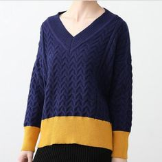 V neck color block sweater for women fashion knit sweaters