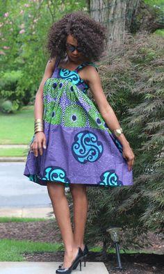 Joshua saved to JoshuaKIRA Dress - African Ankara Print (Purple/green) - Short African Dresses, Latest African Fashion Dresses, African Print Dresses, African Print Fashion, African Prints, Style Africain, African Attire, African Women, Summer Dresses