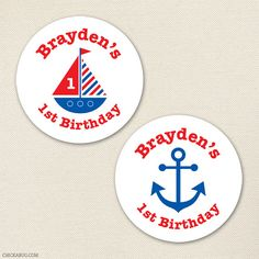 Nautical party  Custom stickers  Sheet of 12 or 24 by Chickabug, $6.00