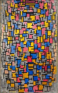 'Piet Mondrian, Composition (Compositie), 1916, Oil on canvas, with wood, 47 1/4 x 29 3/4 inches (120 x 75.6 cm) CREDIT LINE: Solomon R. Guggenheim Museum, New York Solomon R. Guggenheim Founding Collection ACCESSION: 49.1229 COPYRIGHT: 2007 Mondrian/Holtzman Trust http://www.guggenheim.org/new-york/collections/collection-online/artwork/3011