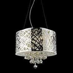 """Picture of 16"""" Web Modern Laser Cut Drum Shade Crystal Round Pendant Chandelier Stainless Steel 5 Lights"""
