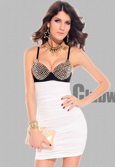 Punk Rivets Bra Top Club Dress White