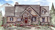 Snow Cap Cottage A House Plan 07460, Front Elevation, Mountain Style House Plans, Craftsman Style House Plans