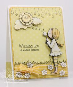 Chloe's birthday card using the stamp sets Under The Weather and Blossom By Blossom from There She Goes Clear Stamps