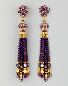 Jose & Maria Barrera Bead-Tassel Earrings, Purple - Neiman Marcus