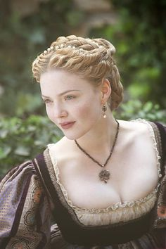Holliday Grainger as Hana. Note the intricate braided updo - would often be seen worn by ladies of the court.