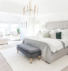 Home decorating ideas bedroom white master bedroom design ideas with brass light and gray tufted bed – awesome home design ideas and decor Bedroom Green, Bedroom Colors, Dream Bedroom, Home Decor Bedroom, Living Room Decor, Bedroom Ideas, Diy Bedroom, Bedroom Fan, Bedroom Curtains