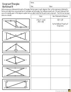 Congruent Triangles Worksheet with Answer Beautiful Congruent Triangles Activity Sss Sas asa Aas and Hl Geometry Proofs, Geometry Lessons, Teaching Geometry, Geometry Worksheets, Teaching Math, Math Lessons, Maths, Teaching Ideas, Congruent Triangles Worksheet