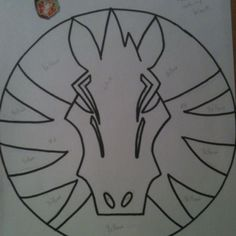 Here is the sketch I made from a Pegasus Beyblade sticker my son had. I simply cut out sections and filled in the blanks with sprinkles using it as a stencil of sorts.