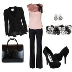 Love black and pink! Classic! Business Attire