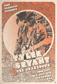 Poster design :  Tyler Bryant & the Shakedown John Varvatos NYC   #concertposter #johnvarvatos #scarletrowe  #tylerbryant