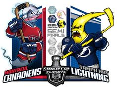 (Eric Poole) is back with his renditions of the second-round Stanley Cup playoff matchups. This is for the Eastern Conference series between the Montréal Canadiens and the Tampa Bay Lightning. Ducks Hockey, Hockey Mom, Hockey Teams, Ice Hockey, Hockey Stuff, Montreal Canadiens, Hockey Bedroom, Hockey Pictures, Hockey Party