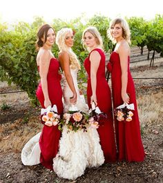 Red or Champagne Bridesmaid Dresses for Spring Wedding? Champagne Bridesmaid Dresses, Red Wedding Dresses, Brides And Bridesmaids, Bride Dresses, Wedding Attire, Wedding Pics, Wedding Styles, Dream Wedding, Wedding Ideas