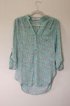 Love this bird print shirt from Stitch Fix -- cute pattern, tab sleeves and a little longer length.