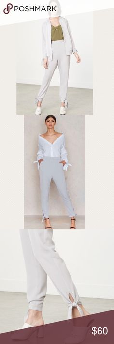 """Lavish Alice trousers Super cute and fashion forward trousers. Have side slant pockets, back welt pocket, high waist fit, hand tied cuffs with keyhole cutout. Stretch waistband, tapered leg. Inseam 26 1/2"""", rise 14 1/2"""". Color is beige. Lavish Alice Pants"""