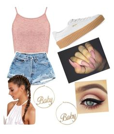 """""""pink"""" by jameahlove ❤ liked on Polyvore featuring beauty, Boohoo, Puma and Forever 21"""