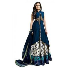 Dresses And Dress Materials For Women& Silk Cotton Fit Embroidery Dress Material Party Wear Fish Cut Gown, Anarkali Gown, Lehenga Choli, Blue Lehenga, Indian Lehenga, Sarees, Gown With Jacket, Gown Party Wear, Simple Gowns