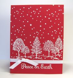 Barb Mann Stampin' Up! Demonstrator - SU - Christmas - Peace on Earth - Red Trees Card - Lovely as a Tree Barb Mann Stampin' Up! Demonstrator - SU - Christmas - Peace on Earth - Red Trees Card - Lovely as a Tree Stamped Christmas Cards, Simple Christmas Cards, Homemade Christmas Cards, Christmas Cards To Make, Homemade Cards, Holiday Cards, Christmas Crafts, Merry Christmas, Elegant Christmas