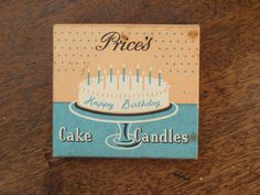 Vintage packaging for Cake Candles. So pretty! Cake Packaging, Vintage Packaging, Cake Illustration, Birthday Cake With Candles, Vintage Love, Package Design, Stationery, Typography, Graphics