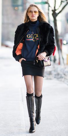 The Best of the Victoria's Secret Angels' Off-Duty Street Style - Romee Strijd in a Gucci sweatshirt from InStyle.com