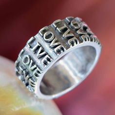 LIVE LOVE ... Inspirational quote on Fine Silver Ring