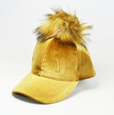 Cool new Gold Satin velvet baseball cap with Fuax fur Pom by WigwamShop on Etsy Fur Pom Pom, Baseball Cap, Winter Hats, Velvet, Satin, Cool Stuff, Trending Outfits, Unique Jewelry, Handmade Gifts