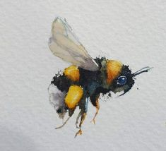 One little bumble bee. – watercolours by rachelYou can find Bumble bees and more on our website.One little bumble bee. – watercolours by rachel Watercolor Animals, Abstract Watercolor, Watercolor Flowers, Bee Sketch, Watercolor Paintings For Beginners, Watercolour Paintings, Watercolours, Bee Drawing, Bee Painting