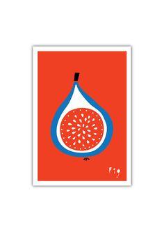 Fig Art print Fruit Illustration Kitchen decor by dekanimal Fruit Illustration, Food Illustrations, Botanical Illustration, Impressions Botaniques, Fruits Drawing, Illustration Botanique, Vegetable Prints, Fruit Photography, Fruit Painting